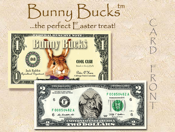 2016 CUTE CURRENCY CARDS ( BUNNY BUCKS) $ 2 bill option copy