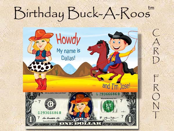 2016 CUTE CURRENCY CARDS (BIRTHDAY BUCKAROOS DALLAS) TN # 1