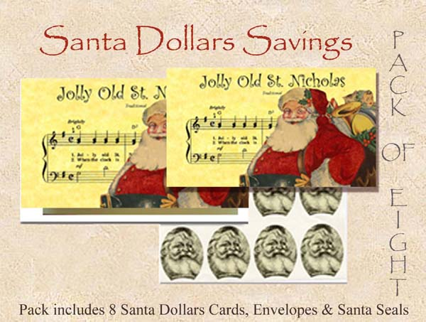 2016 CUTE CURRENCY CARDS SANTA DOLLARS # 3 (600 PIXELS)