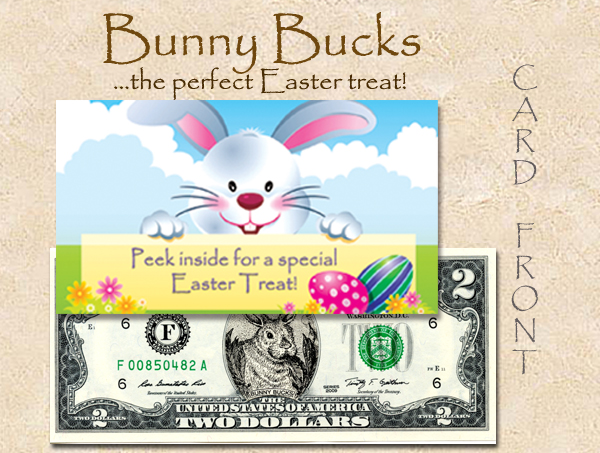 2016 CUTE CURRENCY CARDS (BUNNY BUCKS 2014 $2) TN # 1 copy