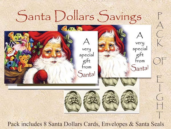Santa Dollars - A Gift from Santa - 8 pack